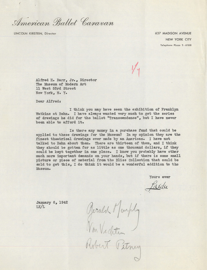 Letter from Lincoln Kirstein to Alfred H. Barr Jr. requesting funds to purchase the Franklin Watkins Transcendence series of drawings for the Museum, January 6, 1942. Alfred H. Barr Jr. Papers, I.A.51. The Museum of Modern Art Archives, New York
