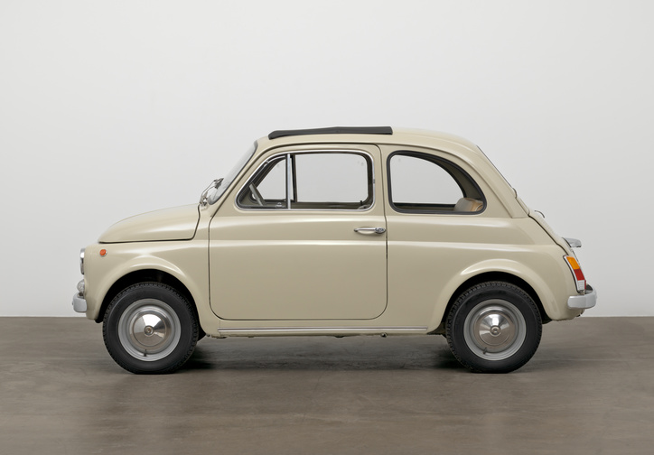 "Dante Giacosa. 500f city car. Designed 1957 (this example 1968). Steel with fabric top, 52 × 52 × 116 7/8"" (132.1 × 132.1 × 296.9 cm). Manufacturer: Fiat S.p.A., Turin, Italy. Gift of Fiat Chrysler Automobiles Heritage"