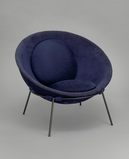 "Lina Bo Bardi. Poltrona Bowl chair. 1951. Steel and fabric, 21 5⁄8 × 33 1⁄16 × 33 1⁄16"" (55 × 84 × 84 cm). Committee on Architecture and Design Funds"