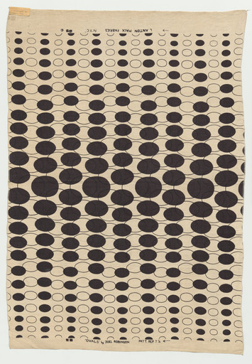 "Joel Robinson. Ovals textile. c.1951-1955. Screenprinted linen, 50 × 34"" (127 × 86.4 cm). Manufacturer: L. Anton Maix Fabrics, New York, NY. Committee on Architecture and Design Funds"