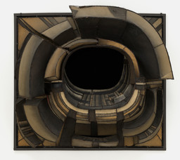 "Lee Bontecou. Untitled. 1961. Welded steel, canvas, fabric, rawhide, copper wire, and soot, 6' 8 1/4"" x 7' 5"" x 34 3/4"" (203.6 x 226 x 88 cm). Kay Sage Tanguy Fund. © 2019 Lee Bontecou"