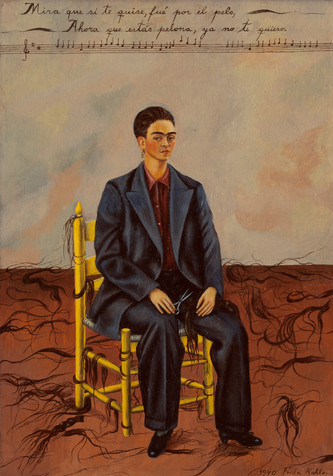 "Frida Kahlo. _Self-Portrait with Cropped Hair_. 1940. Oil on canvas, 15 3/4 x 11"" (40 x 27.9 cm). Gift of Edgar Kaufmann, Jr. © 2019 Banco de México Diego Rivera Frida Kahlo Museums Trust, Mexico, D.F. / Artists Rights Society (ARS), New York"