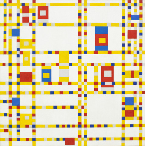 "Piet Mondrian. _Broadway Boogie Woogie_. 1942-43. Oil on canvas, 50 x 50"" (127 x 127 cm). Given anonymously"