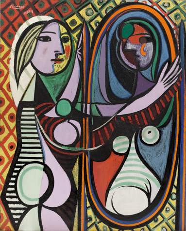"Pablo Picasso. _Girl Before a Mirror_. 1932. Oil on canvas, 64 x 51 1/4"" (162.3 x 130.2 cm). Gift of Mrs. Simon Guggenheim. © 2019 Estate of Pablo Picasso / Artists Rights Society (ARS), New York"