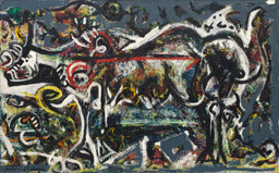 "Jackson Pollock. She Wolf. 1943. Oil, gouache, and plaster on canvas, 41 7/8 x 67"" (106.4 x 170.2 cm). Purchase. © 2019 Pollock-Krasner Foundation / Artists Rights Society (ARS), New York"