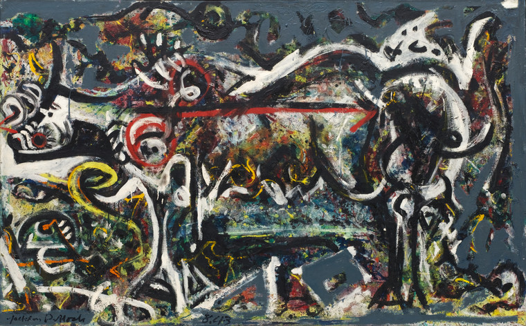 "Jackson Pollock. _She Wolf._ 1943. Oil, gouache, and plaster on canvas, 41 7/8 x 67"" (106.4 x 170.2 cm).