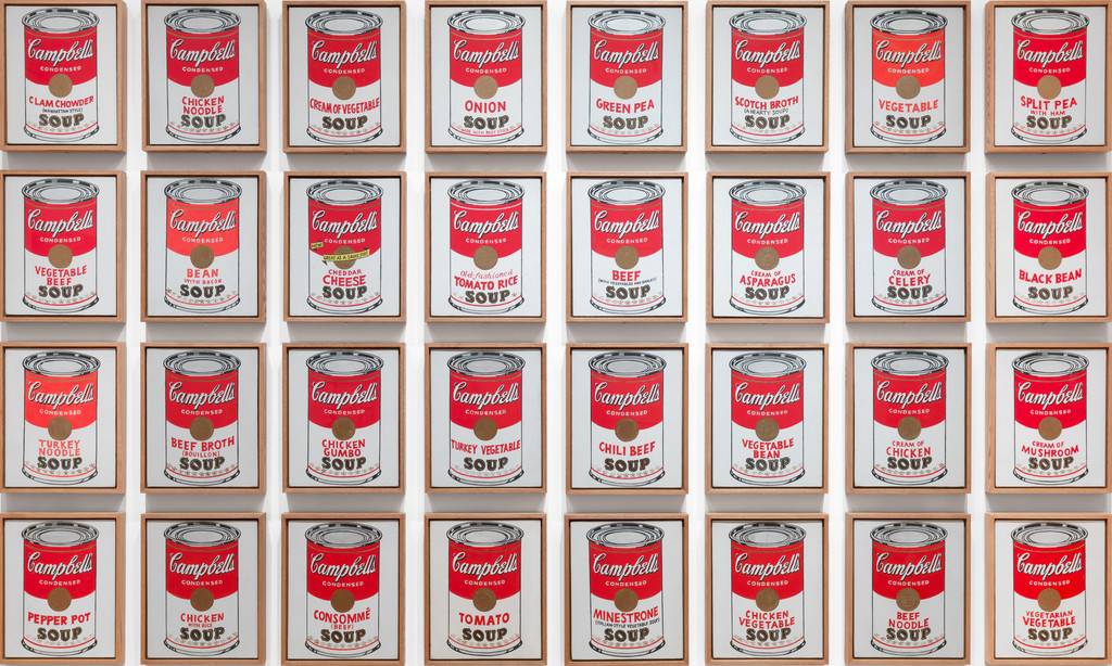 "Andy Warhol. _Campbell's Soup Cans_. 1962. Acrylic with metallic enamel paint on canvas, 32 panels, each canvas 20 x 16"" (50.8 x 40.6 cm). Overall installation with 3"" between each panel is 97"" high x 163"" wide. Partial gift of Irving Blum Additional funding provided by Nelson A. Rockefeller Bequest, gift of Mr. and Mrs. William A. M. Burden, Abby Aldrich Rockefeller Fund, gift of Nina and Gordon Bunshaft in honor of Henry Moore, acquired through the Lillie P. Bliss Bequest, Philip Johnson Fund, Frances R. Keech Bequest, gift of Mrs. Bliss Parkinson, and Florence B. Wesley Bequest (all by exchange). © 2019 Andy Warhol Foundation / ARS, NY / TM Licensed by Campbell's Soup Co. All rights reserved"