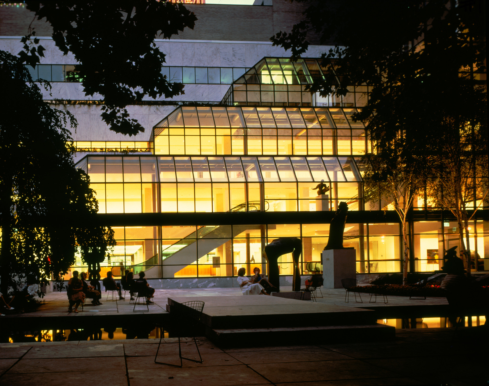 Nighttime view of the Garden Hall, 1987