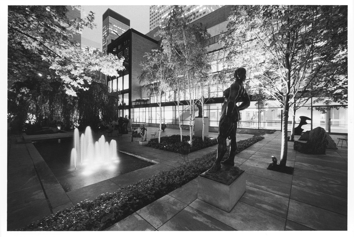 The Abby Aldrich Rockefeller Sculpture Garden, with a view of the Garden Hall, c. 1990