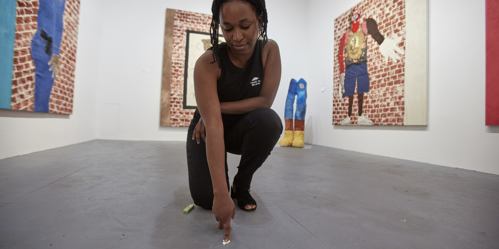 Tschabalala Self in the MOOD: Studio Museum Artists in Residence 2018–19 galleries at MoMA PS1. Photo: Matthew Septimus