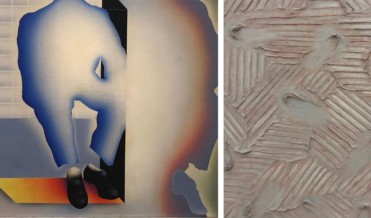 Details from Park Seo-Bo's 1960s zeitgeist-capturing Hereditarius (left) and Ecriture painting series