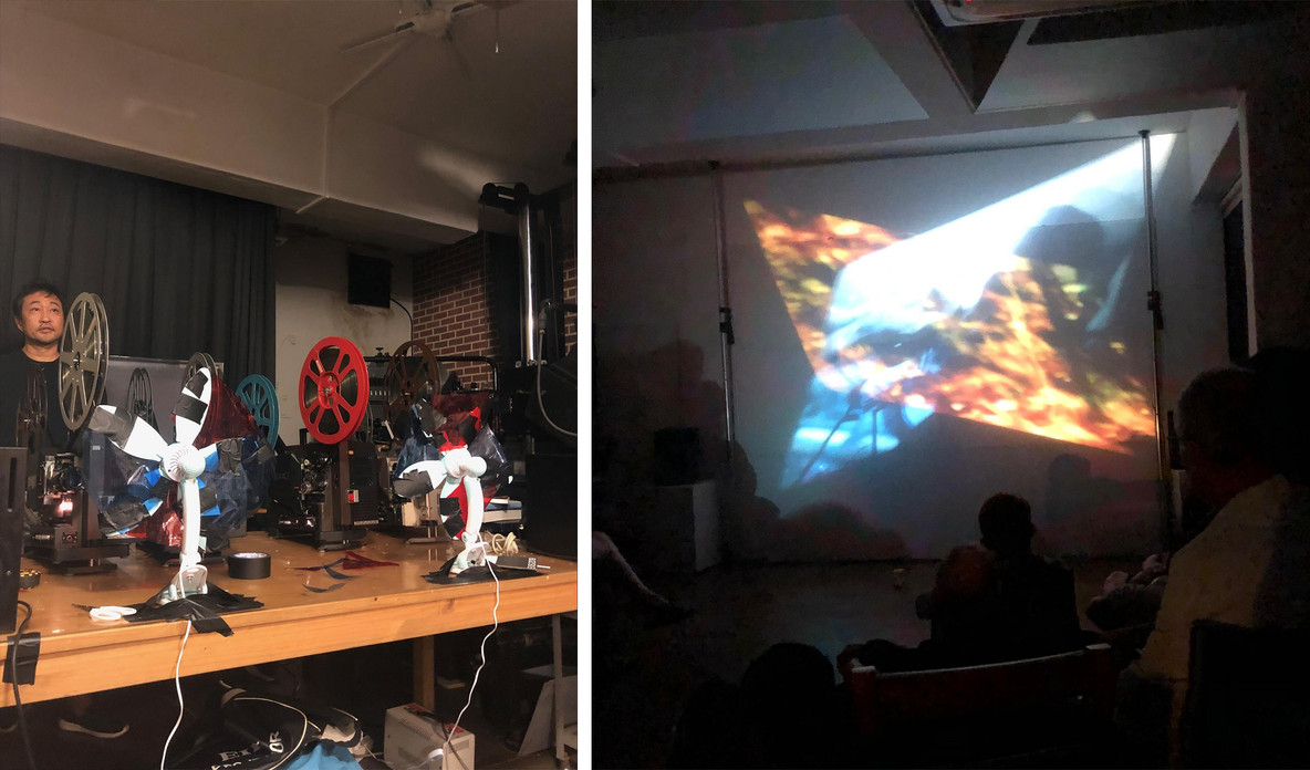 Before and during Simon Liu's multi-projection film E-Ticket (2019)