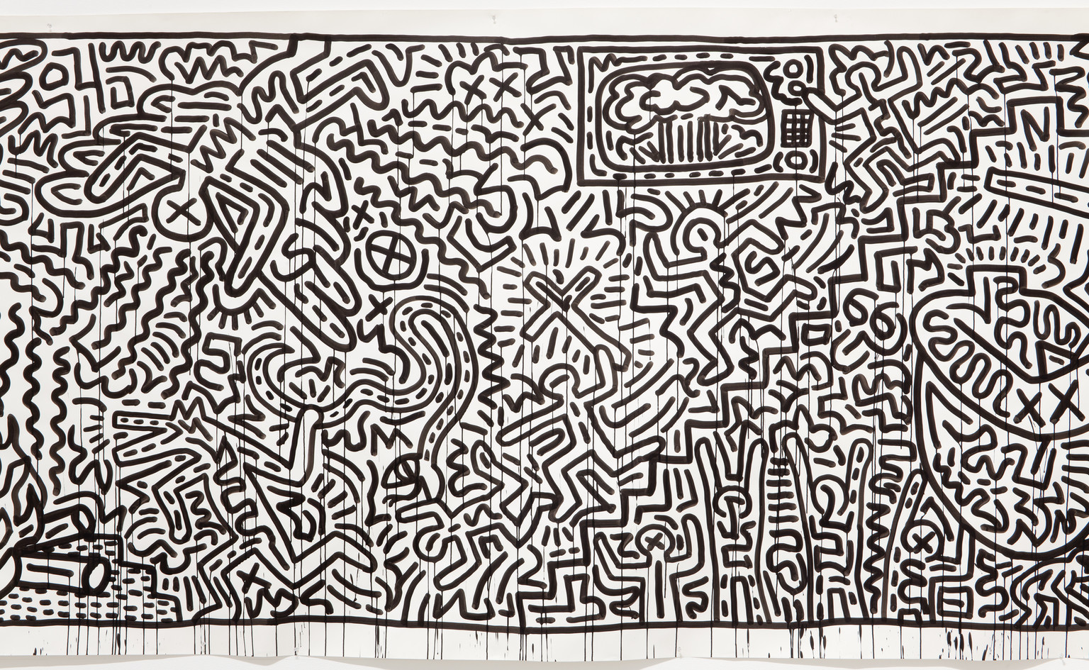 "Keith Haring. Untitled. 1982. Ink on two sheets of paper, Sheet: 72 x 671 1/2"" (182.9 x 1705.6cm) Part (panel a): 72 x 360 3/4""(182.9 x 916.3 cm) Part (panel b): 72 x 310 1/4"" (182.9 x 788 cm). Gift of the Estate of Keith Haring, Inc. © 2019 The Keith Haring Foundation"