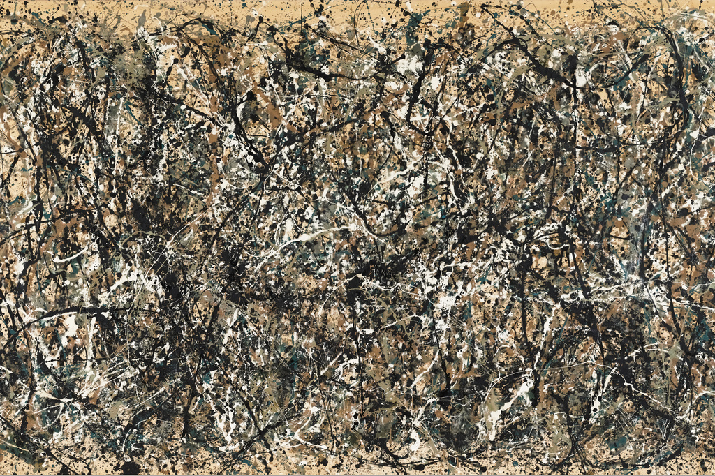 "Jackson Pollock. One: Number 31, 1950. 1950. Oil and enamel paint on canvas, 8' 10"" x 17' 5 5/8"" (269.5 x 530.8 cm). Sidney and Harriet Janis Collection Fund (by exchange). Conservation was made possible by the Bank of America Art Conservation Project. © 2019 Pollock-Krasner Foundation / Artists Rights Society (ARS), New York"