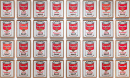"Andy Warhol. Campbell's Soup Cans. 1962. Acrylic with metallic enamel paint on canvas, 32 panels, each canvas 20 × 16"" (50.8 × 40.6 cm); overall installation with 3"" between each panel is 97"" high × 163"" wide. Partial gift of Irving Blum Additional funding provided by Nelson A. Rockefeller Bequest, gift of Mr. and Mrs. William A. M. Burden, Abby Aldrich Rockefeller Fund, gift of Nina and Gordon Bunshaft, acquired through the Lillie P. Bliss Bequest, Philip Johnson Fund, Frances R. Keech Bequest, gift of Mrs. Bliss Parkinson, and Florence B. Wesley Bequest (all by exchange). © 2019 Andy Warhol Foundation/ARS, NY/TM Licensed by Campbell's Soup Co. All rights reserved"