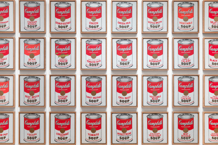 Andy Warhol. <em>Campbell's Soup Cans</em>. 1962. Acrylic with metallic enamel paint on canvas, 32 panels, each canvas 20 × 16&quot; (50.8 × 40.6 cm); overall installation with 3&quot; between each panel is 97&quot; high × 163&quot; wide. Partial gift of Irving Blum Additional funding provided by Nelson A. Rockefeller Bequest, gift of Mr. and Mrs. William A. M. Burden, Abby Aldrich Rockefeller Fund, gift of Nina and Gordon Bunshaft, acquired through the Lillie P. Bliss Bequest, Philip Johnson Fund, Frances R. Keech Bequest, gift of Mrs. Bliss Parkinson, and Florence B. Wesley Bequest (all by exchange). © 2019 Andy Warhol Foundation/ARS, NY/TM Licensed by Campbell's Soup Co. All rights reserved