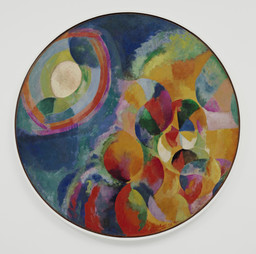 "Robert Delaunay. Simultaneous Contrasts: Sun and Moon. 1913 (dated on painting 1912). Oil on canvas, 53"" (134.5 cm) in diameter. Mrs. Simon Guggenheim Fund"