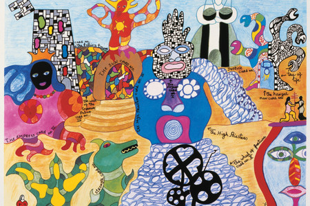 Niki de Saint Phalle. Tarot Garden. 1991. Lithograph, 23.7 x 31.5″ (60.3 x 80 cm). © 2019 NIKI CHARITABLE ART FOUNDATION. Photo: Ed Kessler