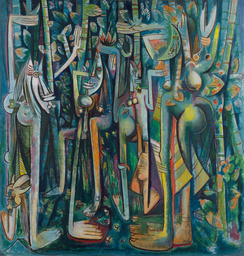 "Wifredo Lam. The Jungle (La Jungla). 1943. Gouache on paper mounted on canvas, 94 1/4 × 90 1/2"" (239.4 × 229.9 cm). Inter-American Fund. © 2019 Artists Rights Society (ARS), New York/ADAGP, Paris"