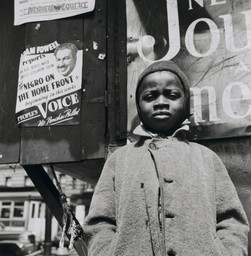 "Gordon Parks. Harlem Newsboy, Harlem, New York. 1943. Gelatin silver print, 14 1/8 × 14"" (35.9 × 35.6 cm). Acquired through the generosity of The Friends of Education of The Museum of Modern Art and Committee on Photography Fund. © 2019 Gordon Parks Foundation"