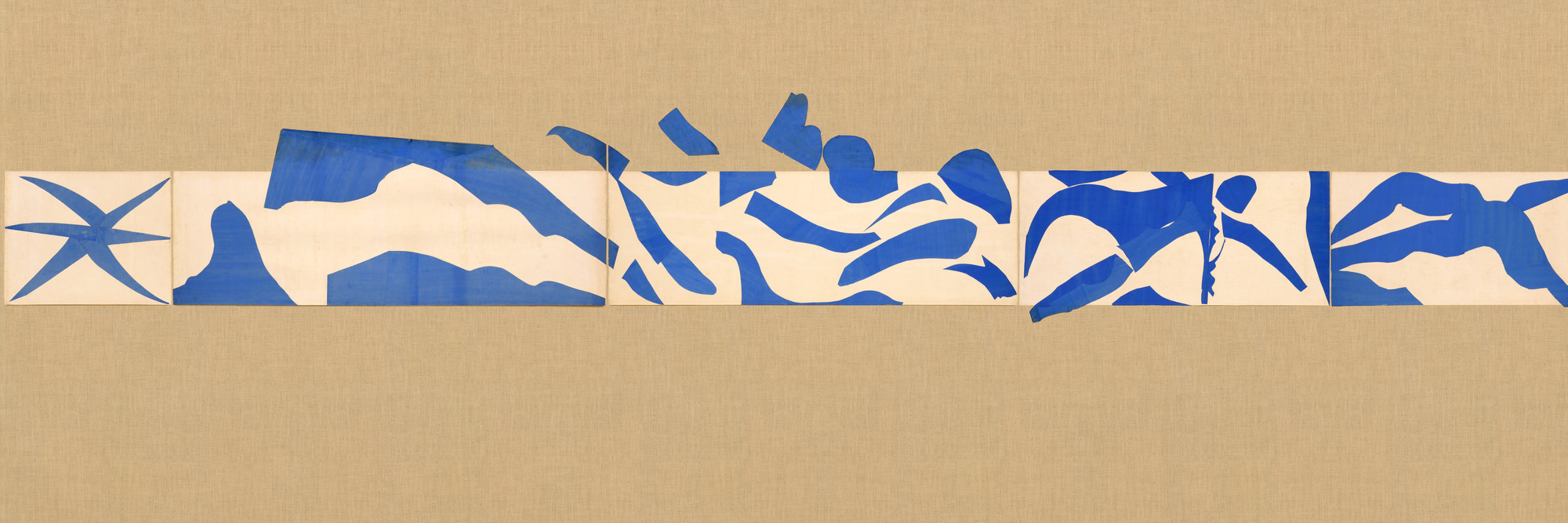 "Henri Matisse. The Swimming Pool, Maquette for ceramic (realized 1999 and 2005). 1952. Gouache on paper, cut and pasted, on painted paper, overall 73"" × 53' 11"" (185.4 × 1643.3 cm). Installed as nine panels in two parts on burlap-covered walls 11' 4"" (345.4 cm) high. Frieze installed at a height of 5' 5"" (165 cm). Mrs. Bernard F. Gimbel Fund. © 2019 Succession H. Matisse/Artists Rights Society (ARS), New York"