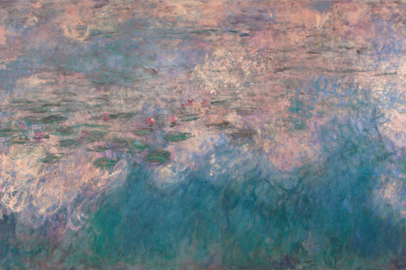 "Claude Monet. Water Lilies. 1914–26. Oil on canvas, three panels, each 6' 6 ¾"" × 13' 11 ¼"" (200 × 424.8 cm), overall 6' 6 ¾"" × 41' 10 3/8"" (200 × 1276 cm). Mrs. Simon Guggenheim Fund"
