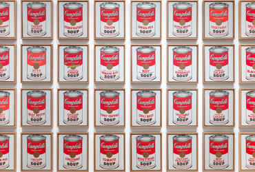 "Andy Warhol. Campbell's Soup Cans. 1962. Acrylic with metallic enamel paint on canvas, 32 panels, Each canvas 20 x 16"" (50.8 x 40.6 cm). Overall installation with 3"" between each panel is 97"" high x 163"" wide. Partial gift of Irving Blum Additional funding provided by Nelson A. Rockefeller Bequest, gift of Mr. and Mrs. William A. M. Burden, Abby Aldrich Rockefeller Fund, gift of Nina and Gordon Bunshaft, acquired through the Lillie P. Bliss Bequest, Philip Johnson Fund, Frances R. Keech Bequest, gift of Mrs. Bliss Parkinson, and Florence B. Wesley Bequest (all by exchange). © 2019 Andy Warhol Foundation / ARS, NY / ™ Licensed by Campbell's Soup Co. All rights reserved."