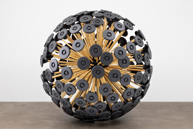 "Massoud Hassani. Mine Kafon wind-powered diminer. 201. Bamboo and biodegradable plastics. 87 x 87 x 87"" (221 x 221 x 221 cm). Gift of the Contemporary Arts Council of the Museum of Modern Art"