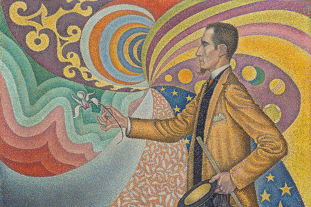 Paul Signac. Opus 217. Against the Enamel of a Background Rhythmic with Beats and Angles, Tones, and Tints, Portrait of M. Félix Fénéon in 1890. 1890. Oil on canvas. 29 x 36 1/2″ (73.5 x 92.5 cm). The Museum of Modern Art, New York. Gift of Mr. and Mrs. David Rockefeller, 1991. Photo by Jonathan Muzikar. © 2019 Artists Rights Society (ARS), New York / ADAGP, Paris