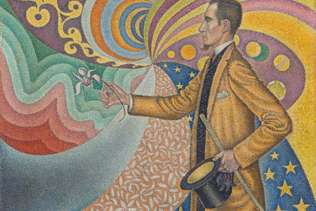 Paul Signac. <em>Opus 217</em>. Against the Enamel of a Background Rhythmic with Beats and Angles, Tones, and Tints, Portrait of M. Félix Fénéon in 1890. 1890. Oil on canvas. 29 x 36 1/2″ (73.5 x 92.5 cm). The Museum of Modern Art, New York. Gift of Mr. and Mrs. David Rockefeller, 1991. Photo by Jonathan Muzikar. © 2019 Artists Rights Society (ARS), New York / ADAGP, Paris
