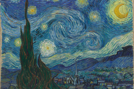 "Vincent van Gogh. The Starry Night. 1889. Oil on canvas, 29 × 36 ¼"" (73.7 × 92.1 cm). Acquired through the Lillie P. Bliss Bequest (by exchange)"