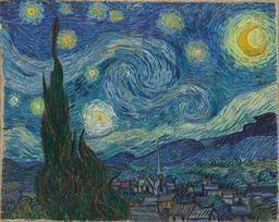 "Vincent van Gogh. The Starry Night. 1889. Oil on canvas, 29 × 36 1/4"" (73.7 × 92.1 cm). Acquired through the Lillie P. Bliss Bequest (by exchange)"