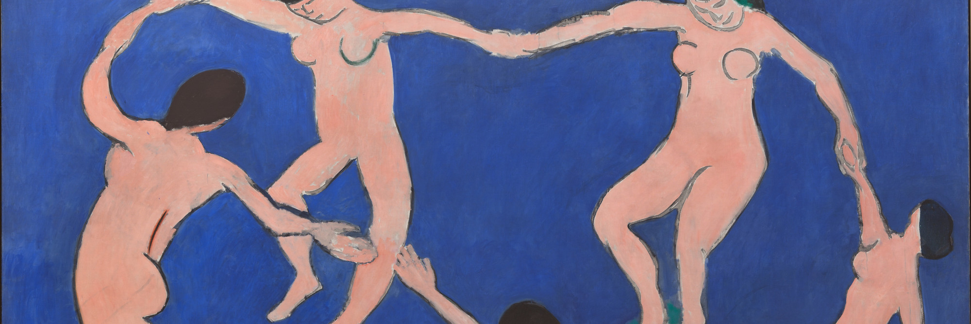 "Henri Matisse. Dance (I). 1909. Oil on canvas, 8' 6 1/2"" × 12' 9 1/2"" (259.7 × 390.1 cm). Gift of Nelson A. Rockefeller in honor of Alfred H. Barr, Jr. © 2019 Succession H. Matisse/Artists Rights Society (ARS), New York"