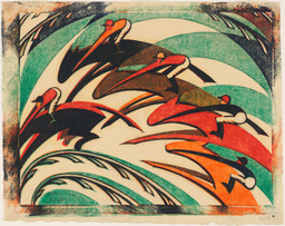 "Sybil Andrews. Racing. 1934. Linoleum cut, composition: 10 5/16 × 13 1/2"" (26.2 × 34.3 cm); sheet (irreg.): 11 7/8 × 14 15/16"" (30.2 × 37.9 cm). Publisher: the artist, London. Printer: the artist, London. Edition: 60. Sharon P. Rockefeller Fund and General Print Fund. © 2019 Estate of Sybil Andrews"