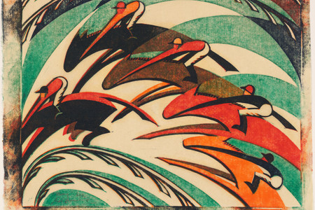 "Sybil Andrews. Racing. 1934. Linoleum cut, composition: 10 5/16 × 13 ½"" (26.2 × 34.3 cm); sheet (irreg.): 11 7/8 × 14 15/16"" (30.2 × 37.9 cm). Publisher: the artist, London. Printer: the artist, London. Edition: 60. Sharon P. Rockefeller Fund and General Print Fund. © 2019 Estate of Sybil Andrews"
