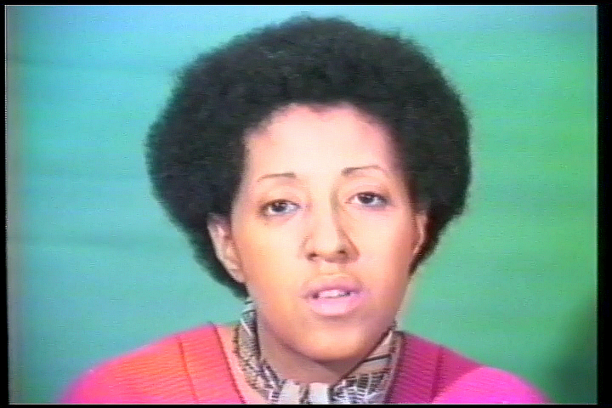 Howardena Pindell. Free, White and 21. 1980. Video (color, sound), 12:15 min. Gift of Jerry I. Speyer and Katherine G. Farley, Anna Marie and Robert F. Shapiro, and Marie-Josée and Henry R. Kravis. © 2019 Howardena Pindell. Courtesy of the artist and The Kitchen, New York