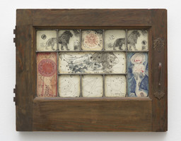 "Betye Saar. Mystic Window for Leo. 1966. Wooden window frame with cut-and-pasted paper and printed paper with ink, colored pencil and embossing, 14 1/4 × 17 3/4"" (36.2 × 45.1 cm). Collection Meghan R. Cavanaugh, Los Angeles. © 2019 Betye Saar, courtesy of the artist and Roberts Projects, Los Angeles; Photo Robert Wedemeyer"