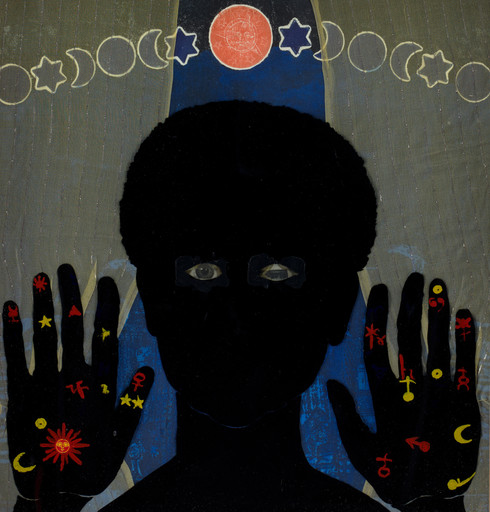 "Betye Saar. Black Girl's Window (detail). 1969. Wooden window frame with paint, cut-and-pasted printed and painted papers, daguerreotype, lenticular print, and plastic figurine, 35 3/4 x 18 x 1 1/2"" (90.8 x 45.7 x 3.8 cm). Gift of Candace King Weir through The Modern Women's Fund, and Committee on Painting and Sculpture Funds"