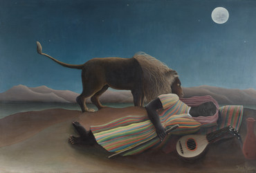 "Henri Rousseau. The Sleeping Gypsy.1897. Oil on canvas. 51"" x 6' 7"" (129.5 x 200.7 cm). Gift of Mrs. Simon Guggenheim"