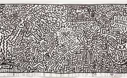 "Keith Haring. Untitled. 1982. Ink on two sheets of paper, sheet: 72 × 671 1/2"" (182.9 × 1705.6cm) Part (panel a): 72 × 360 3/4"" (182.9 × 916.3 cm) Part (panel b): 72 × 310 1/4"" (182.9 × 788 cm). Gift of the Estate of Keith Haring, Inc. © 2019 The Keith Haring Foundation"