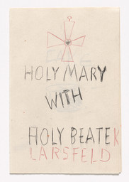 "Rosemarie Trockel. Holy Mary from Book Drafts. 1978. Ink and colored pencil on seven pieces of paper, page (each): 6 1/8 × 4 1/8"" (15.6 × 10.5 cm). Anonymous gift. © 2019 Rosemarie Trockel/Artists Rights Society (ARS), New York/VG Bild-Kunst, Germany"