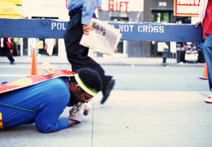 Pope.L. The Great White Way, 22 miles, 9 years, 1 street. 2000–09. Performance. © Pope. L. Courtesy of the artists and Mitchell – Innes & Nash, New York