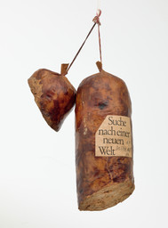 "Dieter Roth. Literature Sausage (Literaturwurst). 1969, published 1961–70. Artist's book of ground copy of Suche nach einer Neuen Welt by Robert F. Kennedy, gelatin, lard, and spices in natural casing, overall (approx.): 12 × 6 11/16 × 3 9/16"" (30.5 × 17 × 9 cm). Publisher: the artist. Fabricator: Dieter Roth. Edition: artist's proof outside the edition of 50. The Print Associates Fund in honor of Deborah Wye. © 2019 Estate of Dieter Roth"
