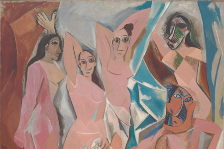 "Pablo Picasso. Les Demoiselles d'Avignon. 1907. Oil on canvas, 8' × 7' 8"" (243.9 × 233.7 cm). Acquired through the Lillie P. Bliss Bequest (by exchange). © 2019 Estate of Pablo Picasso/Artists Rights Society (ARS), New York"