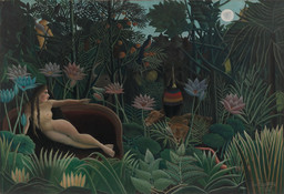 "Henri Rousseau. The Dream. 1910. Oil on canvas, 6' 8 1/2"" × 9' 9 1/2"" (204.5 × 298.5 cm). Gift of Nelson A. Rockefeller"