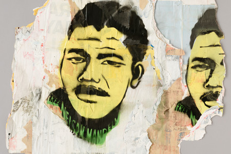 David Hammons. <em>Free Nelson Mandela</em>. 1987. Stencil on versos of torn and layered billboard papers, composition: 20 5/8 × 23 5/8&quot; (52.4 × 60 cm); sheet (irreg): 28 13/16 x 28 9/16&quot; (73 x 72.5 cm), Publisher: unpublished. Printer: the artist, New York. Edition: unique. John B. Turner Fund. © 2019 David Hammons
