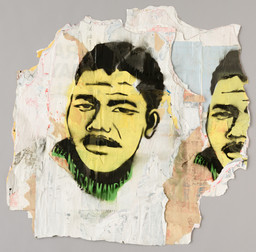 "David Hammons. Free Nelson Mandela. 1987. Stencil on versos of torn and layered billboard papers, composition: 20 5/8 × 23 5/8"" (52.4 × 60 cm); sheet (irreg): 28 13/16 x 28 9/16"" (73 x 72.5 cm), Publisher: unpublished. Printer: the artist, New York. Edition: unique. John B. Turner Fund. © 2019 David Hammons"