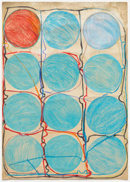 "Atsuko Tanaka. Untitled. 1956. Crayon, watercolor, and felt-tip pen on paper, 42 7/8 × 30 3/8"" (108.9 × 77.2 cm). Purchased with funds provided by the Edward John Noble Foundation, Frances Keech Fund, and Committee on Drawings Funds. © 2019 Ryoji Ito"