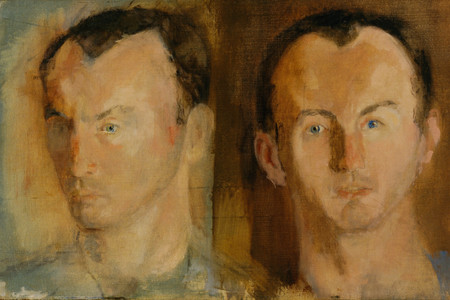 Larry Rivers. <em>Double Portrait of Frank O'Hara</em>. 1955. Oil on canvas, 15 1/4 × 25 1/8&quot; (38.4 × 63.6 cm). Gift of Stuart Preston. © 2019 Estate of Larry Rivers/Licensed by VAGA, New York, NY