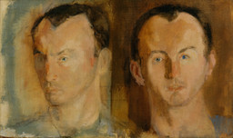 "Larry Rivers. Double Portrait of Frank O'Hara. 1955. Oil on canvas, 15 1/4 × 25 1/8"" (38.4 × 63.6 cm). Gift of Stuart Preston. © 2019 Estate of Larry Rivers/Licensed by VAGA, New York, NY"